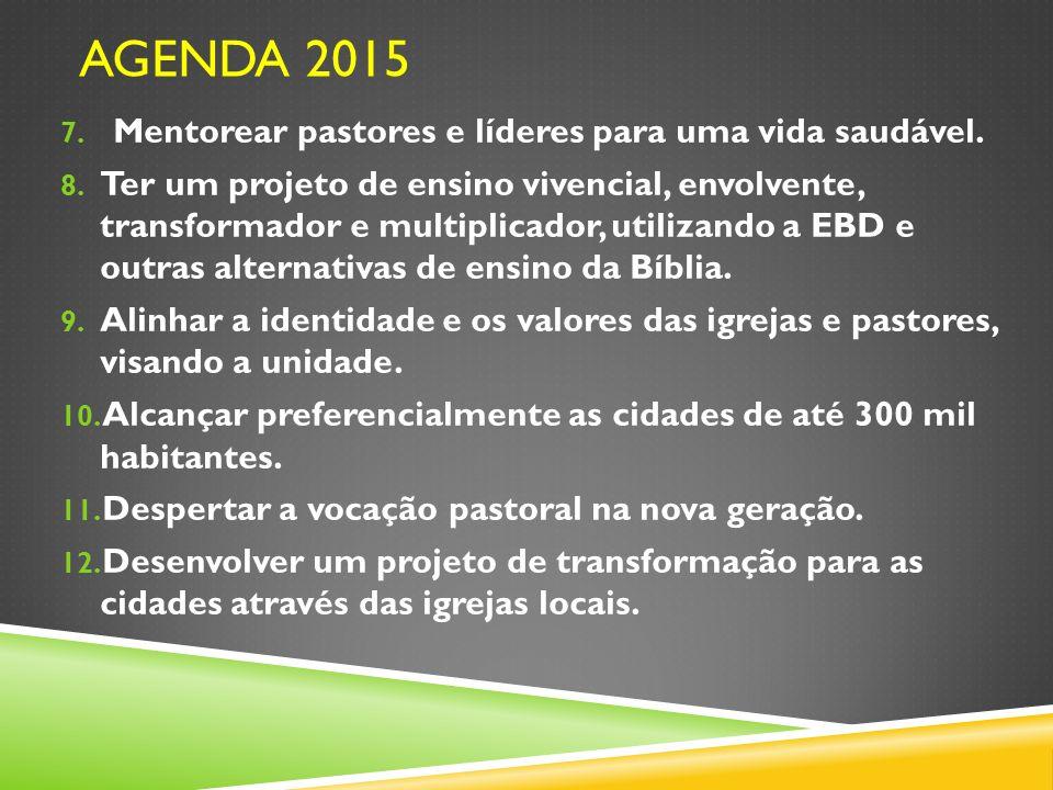 Agenda 2015 Mentorear pastores e líderes para uma vida saudável.