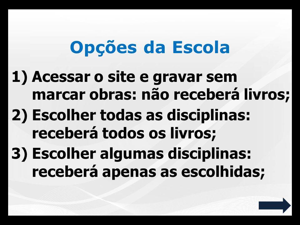 Opções da Escola Acessar o site e gravar sem marcar obras: não receberá livros; Escolher todas as disciplinas: receberá todos os livros;