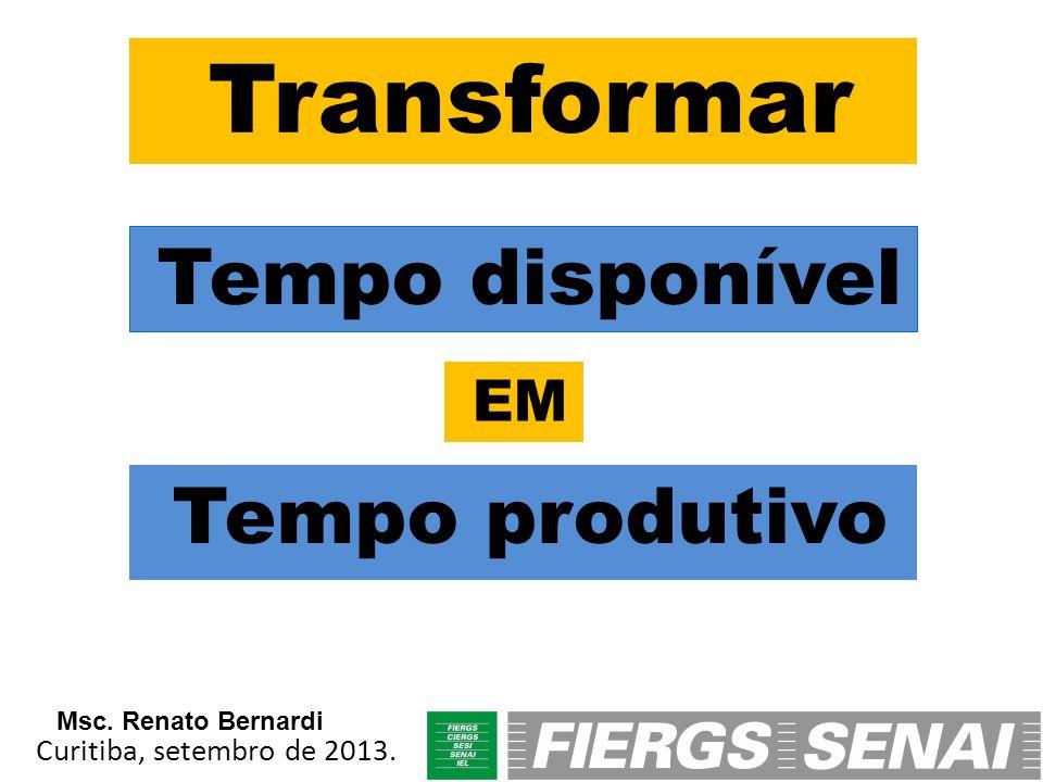 Transformar Tempo disponível Tempo produtivo EM