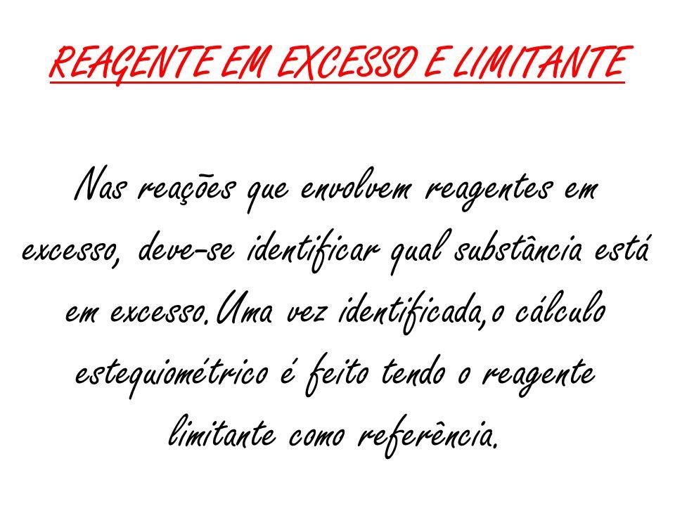 REAGENTE EM EXCESSO E LIMITANTE