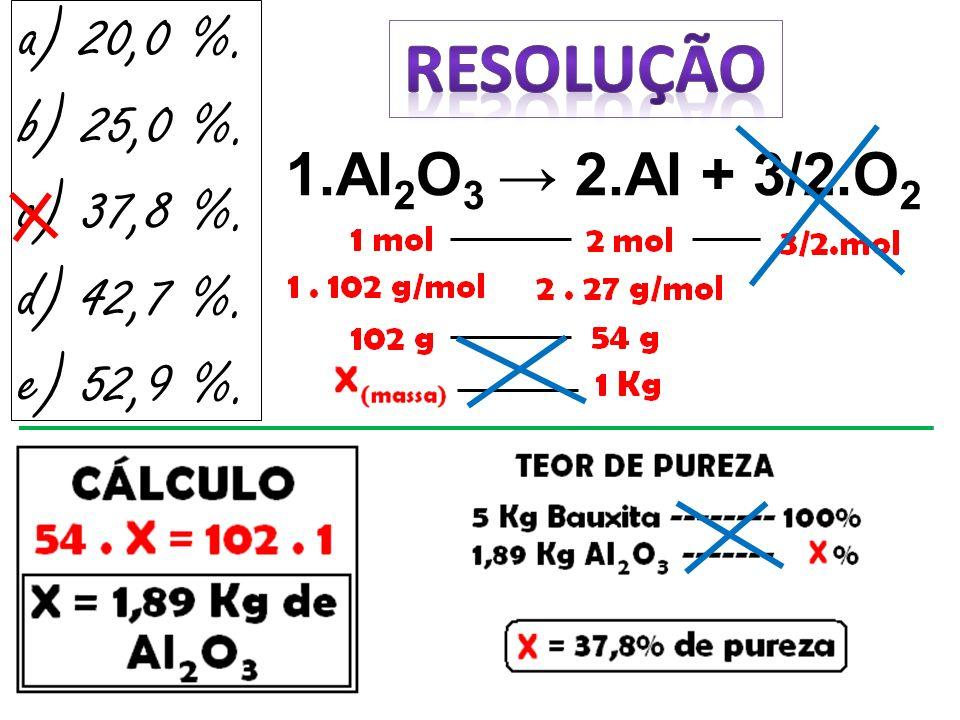 a) 20,0 %. RESOLUÇÃO b) 25,0 %. c) 37,8 %. d) 42,7 %. e) 52,9 %.