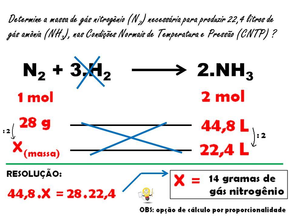 Determine a massa de gás nitrogênio (N2) necessária para produzir 22,4 litros de gás amônia (NH3), nas Condições Normais de Temperatura e Pressão (CNTP)