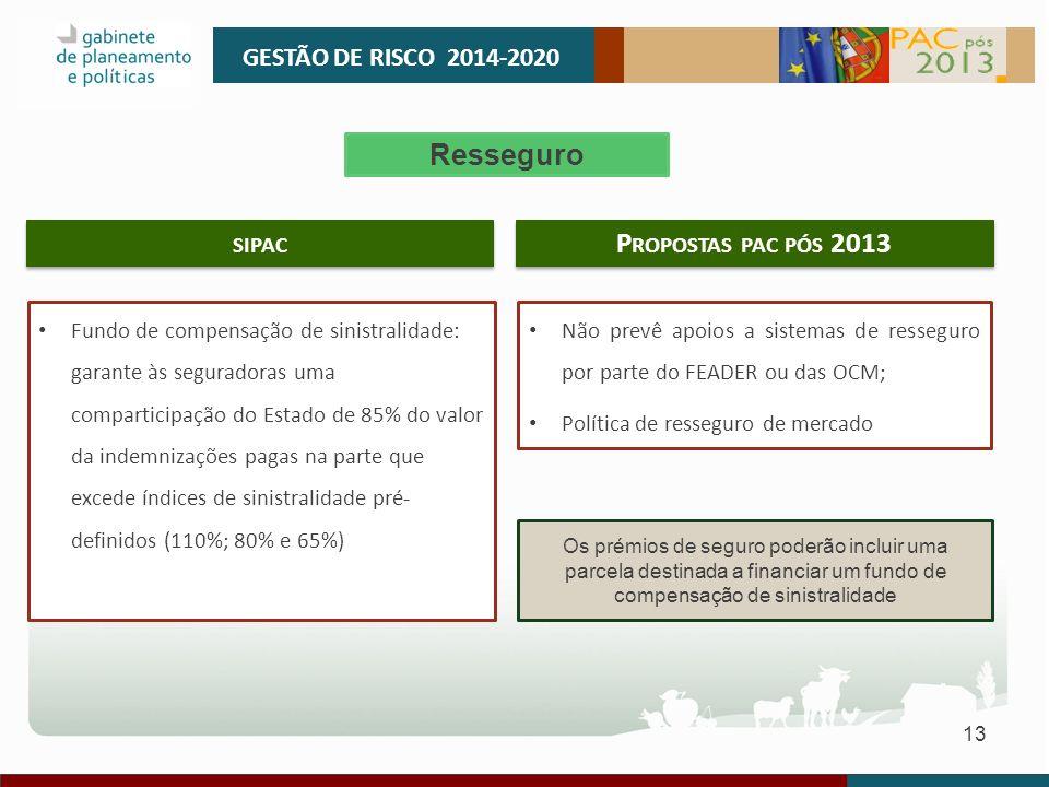 GESTÃO DE RISCO 2014-2020 Resseguro sipac Propostas pac pós 2013