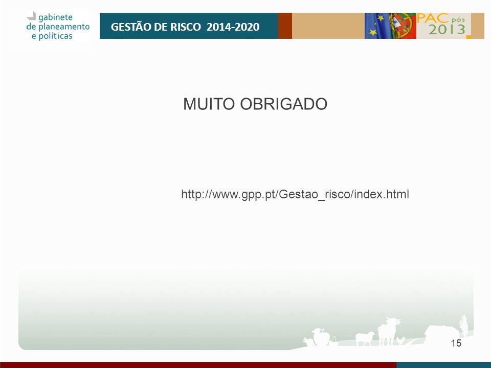 MUITO OBRIGADO GESTÃO DE RISCO 2014-2020