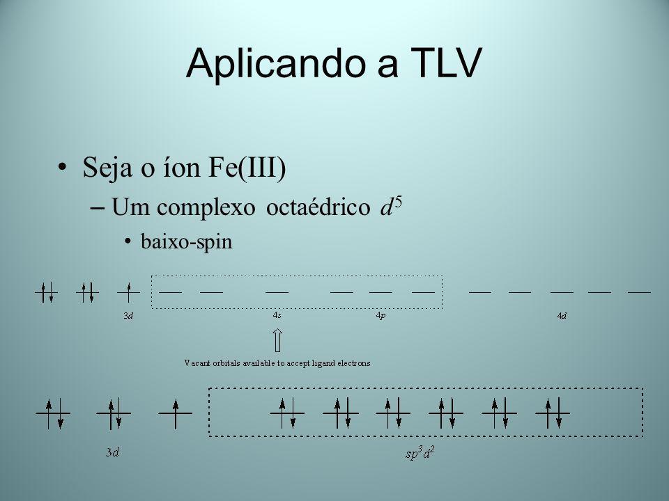 Aplicando a TLV Seja o íon Fe(III) Um complexo octaédrico d5