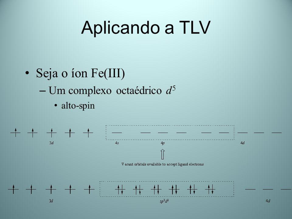 Aplicando a TLV Seja o íon Fe(III) Um complexo octaédrico d5 alto-spin