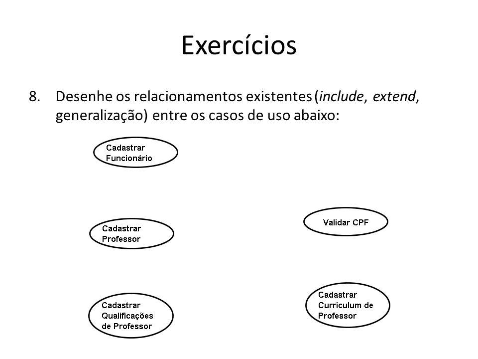 Exercícios Desenhe os relacionamentos existentes (include, extend, generalização) entre os casos de uso abaixo:
