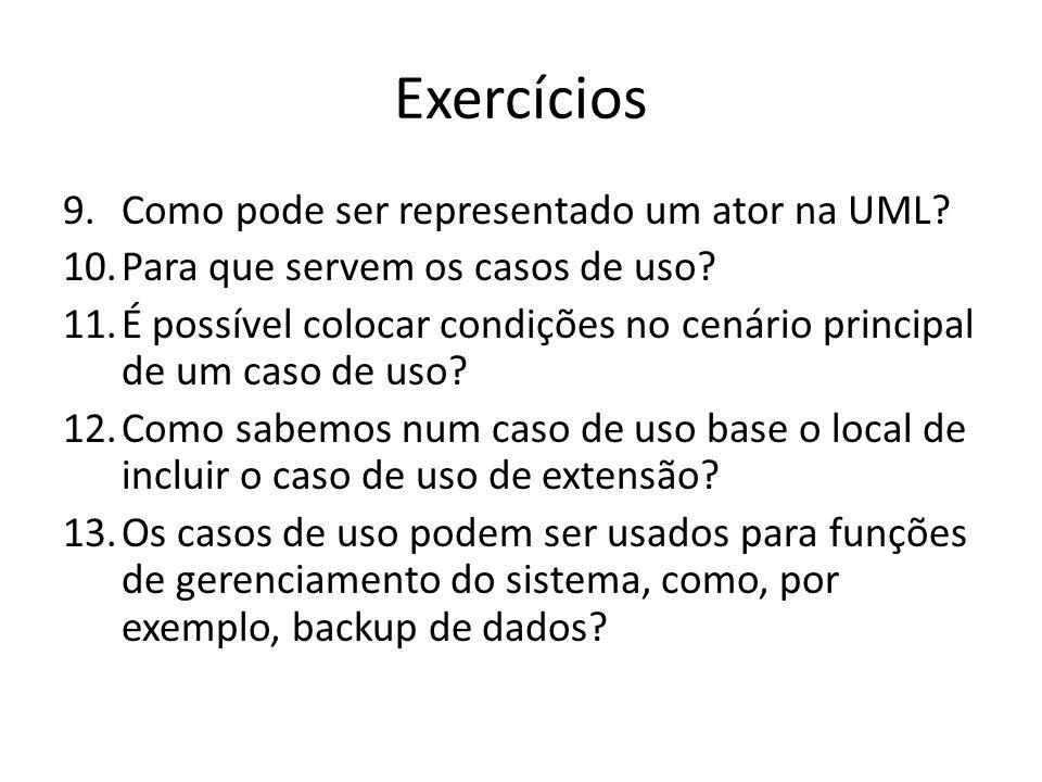 Exercícios Como pode ser representado um ator na UML