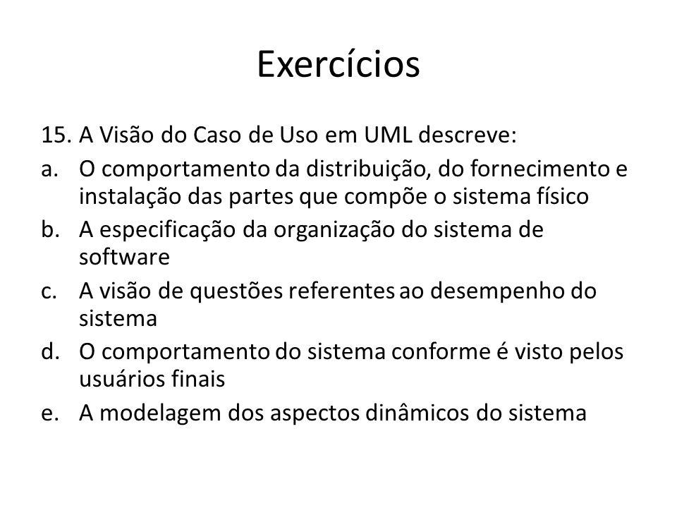 Exercícios A Visão do Caso de Uso em UML descreve: