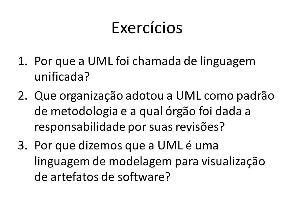 Exercícios Por que a UML foi chamada de linguagem unificada