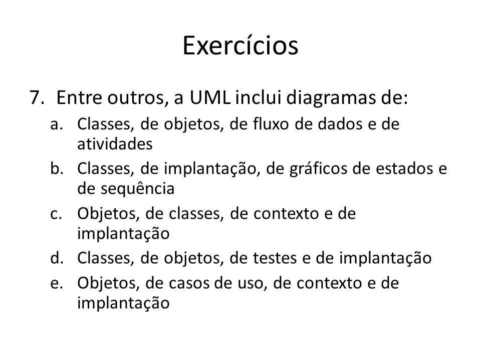 Exercícios Entre outros, a UML inclui diagramas de: