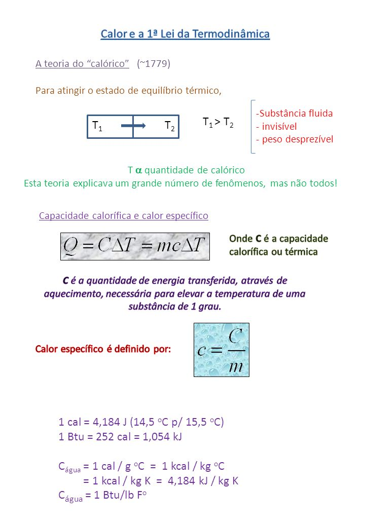 Calor e a 1ª Lei da Termodinâmica