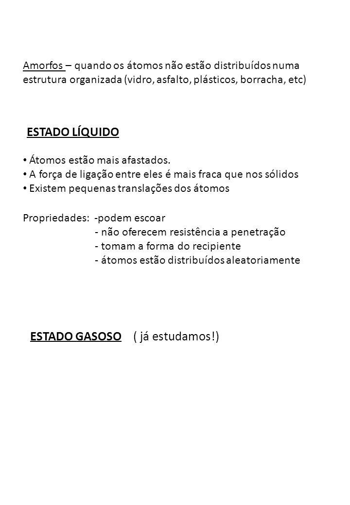 ESTADO GASOSO ( já estudamos!)