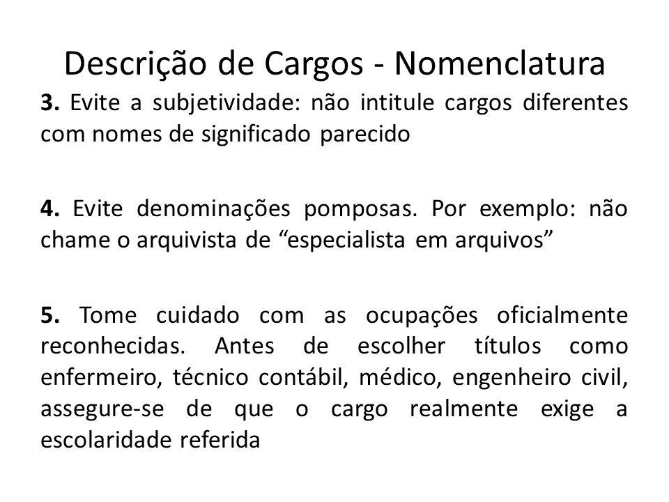 Descrição de Cargos - Nomenclatura