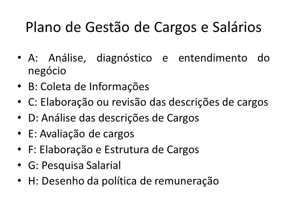 Plano de Gestão de Cargos e Salários