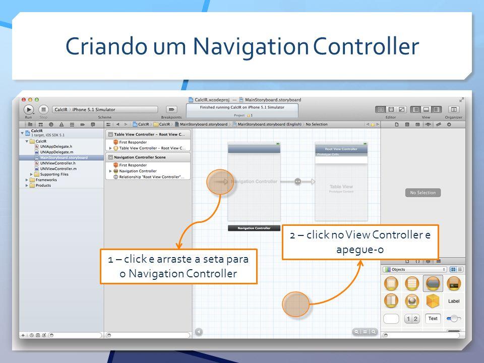 Criando um Navigation Controller