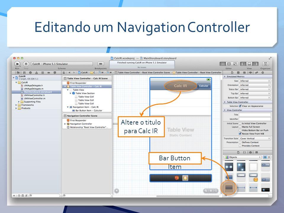 Editando um Navigation Controller