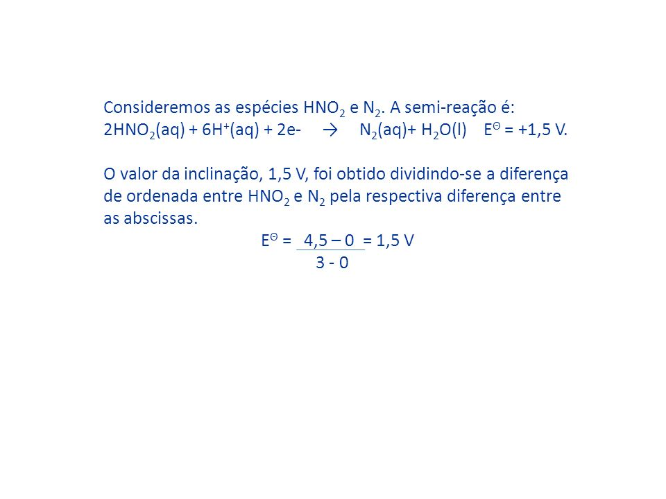 Consideremos as espécies HNO2 e N2. A semi-reação é: