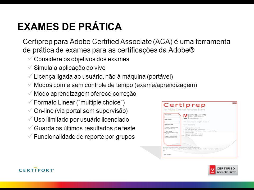 EXAMES DE PRÁTICA Certiprep para Adobe Certified Associate (ACA) é uma ferramenta de prática de exames para as certificações da Adobe®