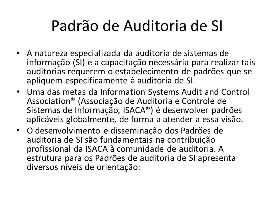 Padrão de Auditoria de SI