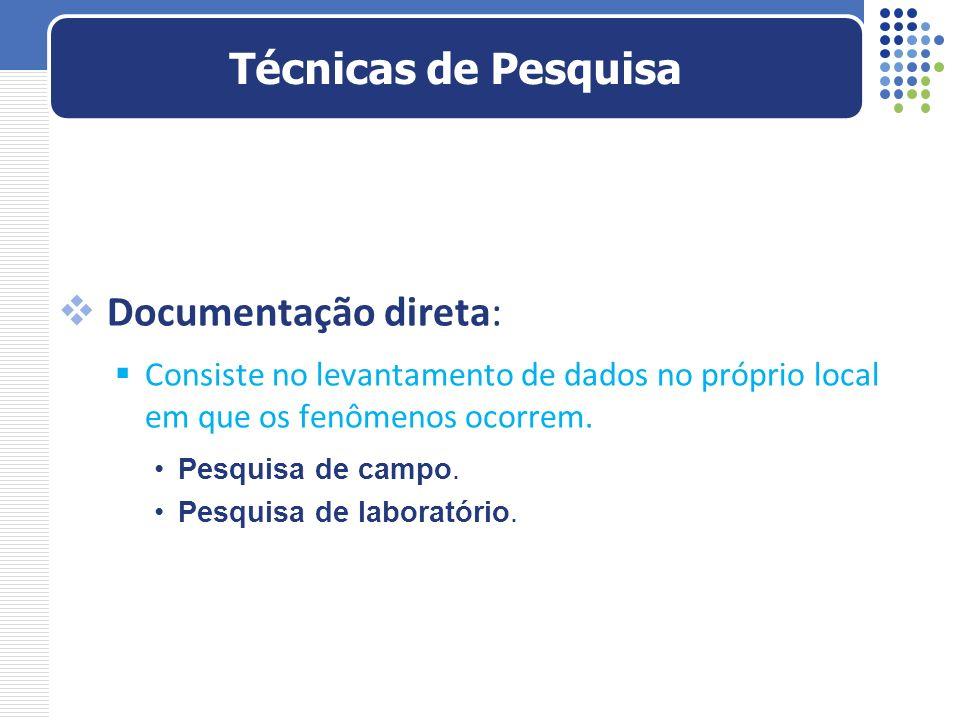 Técnicas de Pesquisa Documentação direta: