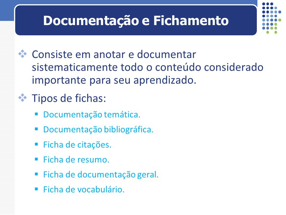 Documentação e Fichamento