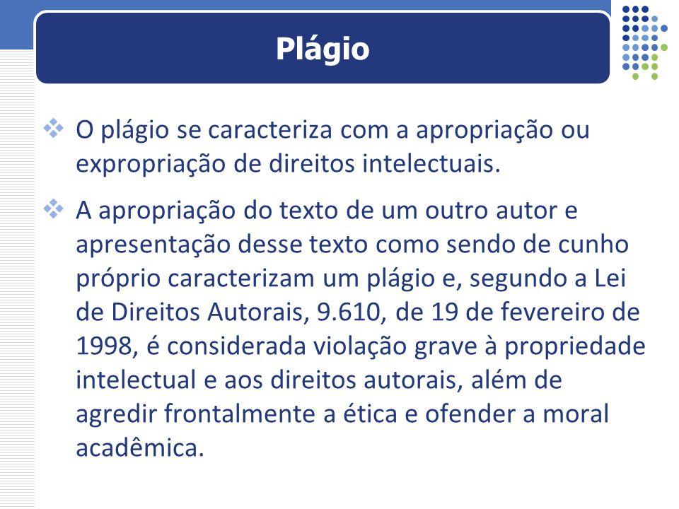 Plágio O plágio se caracteriza com a apropriação ou expropriação de direitos intelectuais.