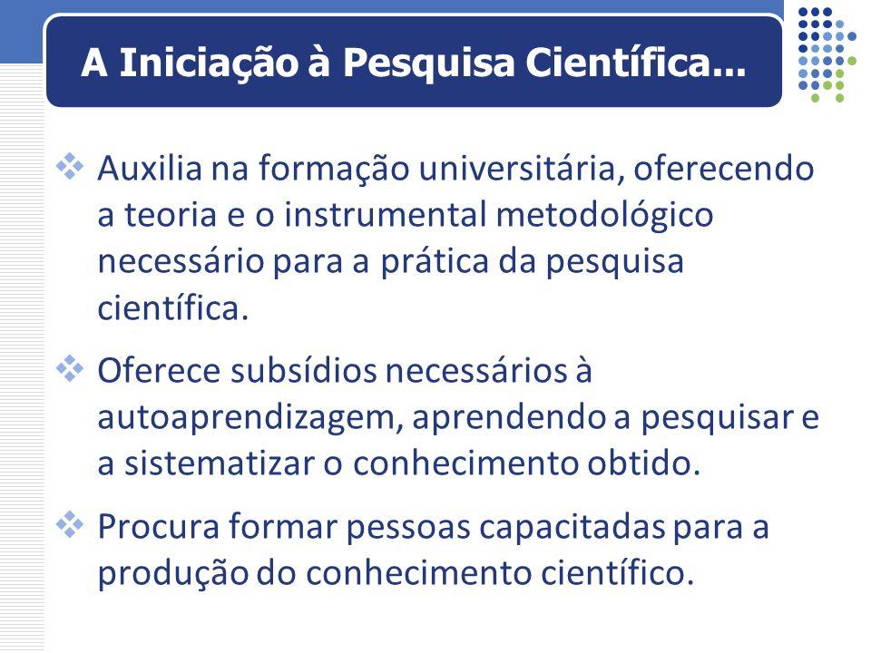 A Iniciação à Pesquisa Científica...