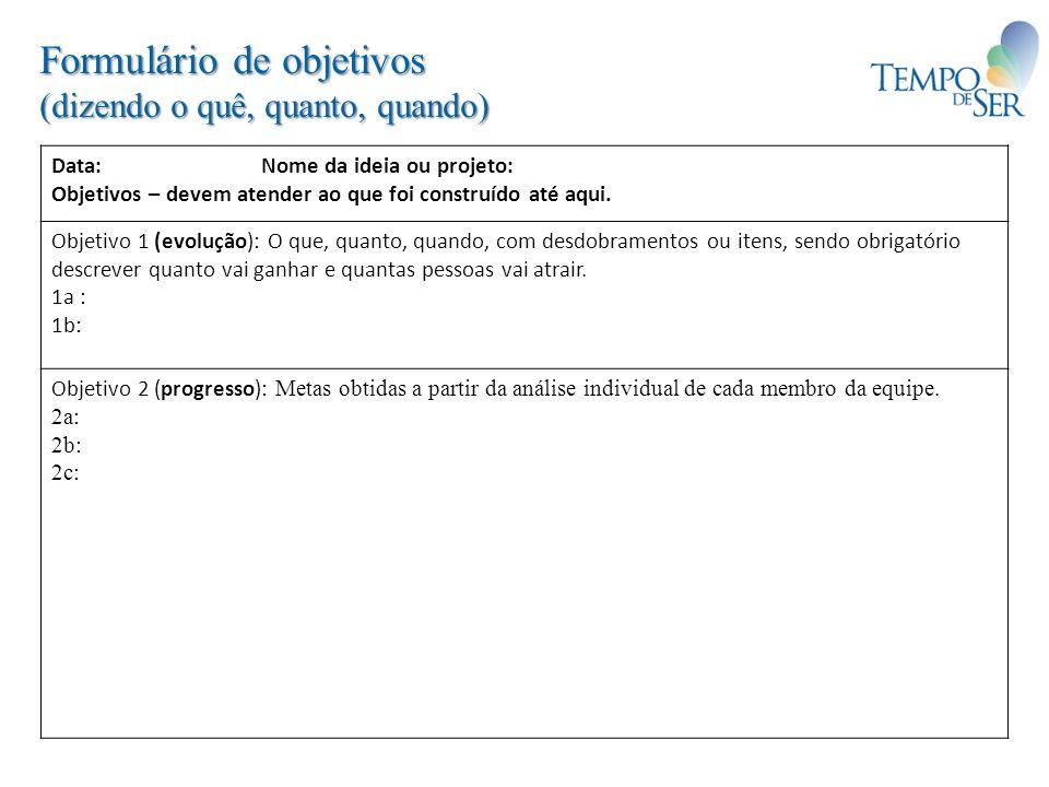 Formulário de objetivos