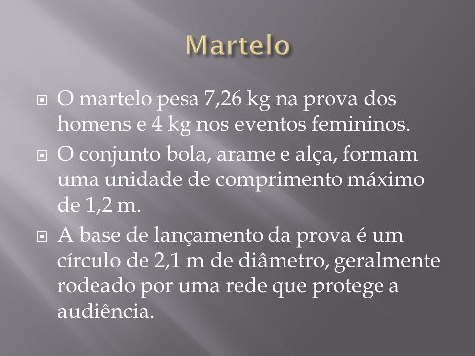 Martelo O martelo pesa 7,26 kg na prova dos homens e 4 kg nos eventos femininos.