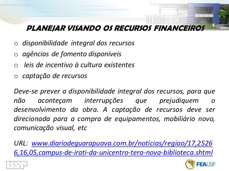 PLANEJAR VISANDO OS RECURSOS FINANCEIROS