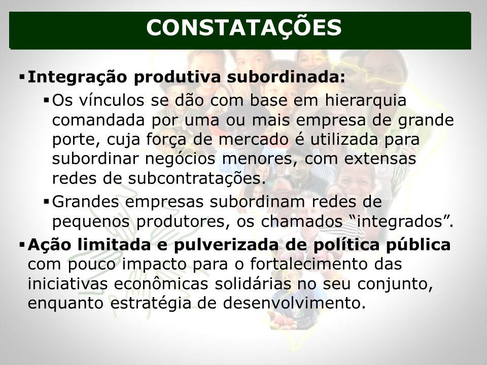 CONSTATAÇÕES Integração produtiva subordinada: