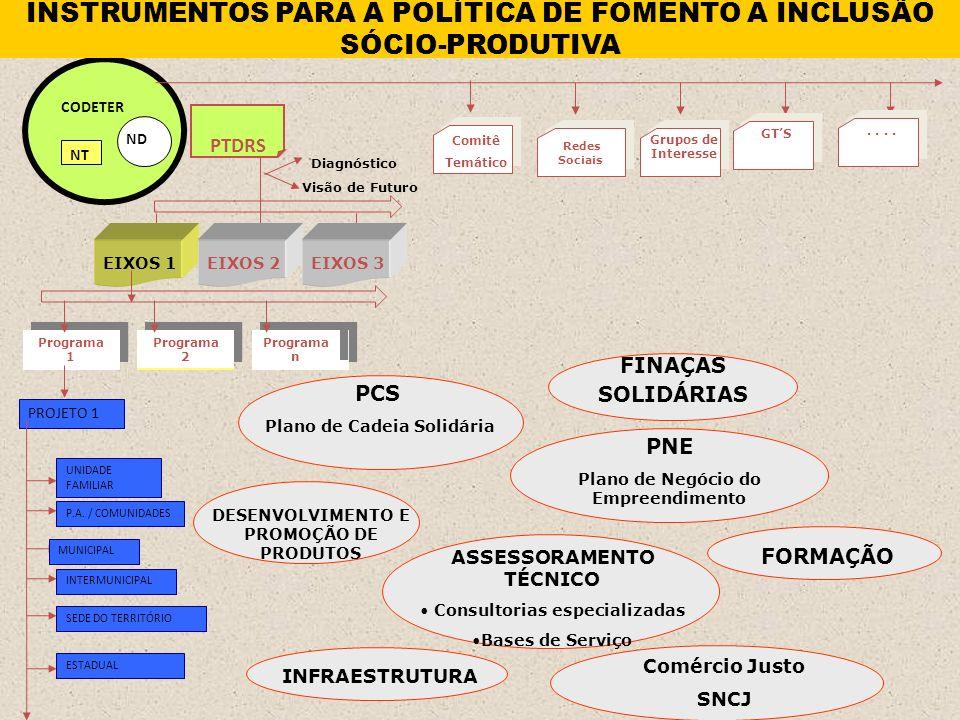 INSTRUMENTOS PARA A POLÍTICA DE FOMENTO A INCLUSÃO SÓCIO-PRODUTIVA