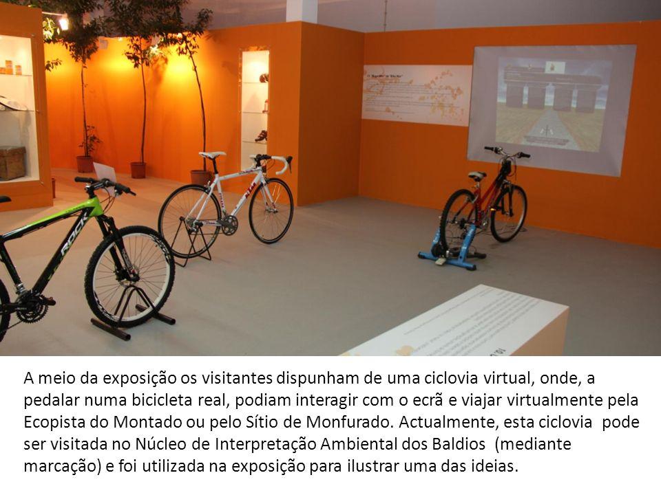 A meio da exposição os visitantes dispunham de uma ciclovia virtual, onde, a pedalar numa bicicleta real, podiam interagir com o ecrã e viajar virtualmente pela Ecopista do Montado ou pelo Sítio de Monfurado.