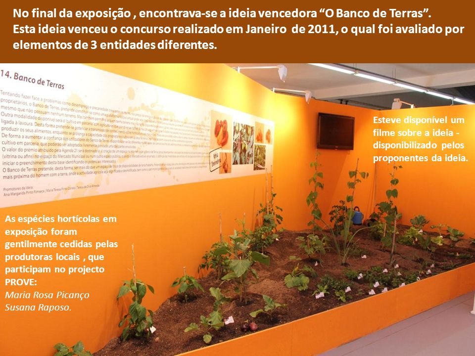 No final da exposição , encontrava-se a ideia vencedora O Banco de Terras .
