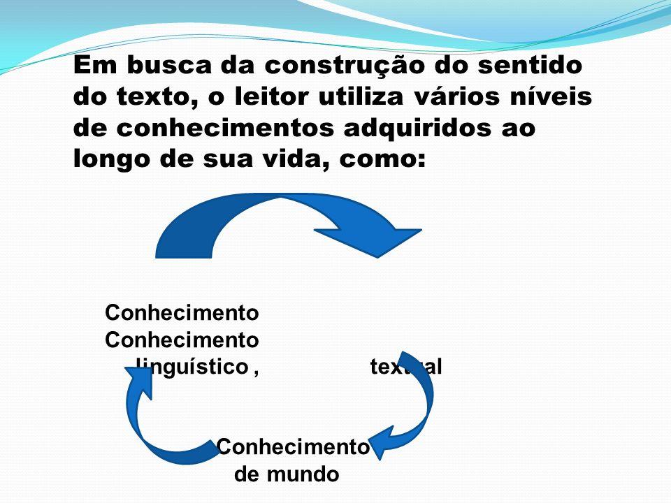 Em busca da construção do sentido do texto, o leitor utiliza vários níveis de conhecimentos adquiridos ao longo de sua vida, como: