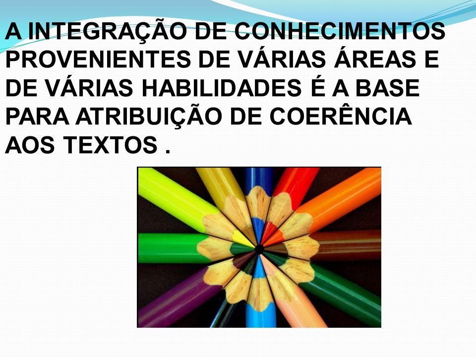 A INTEGRAÇÃO DE CONHECIMENTOS PROVENIENTES DE VÁRIAS ÁREAS E DE VÁRIAS HABILIDADES É A BASE PARA ATRIBUIÇÃO DE COERÊNCIA AOS TEXTOS .