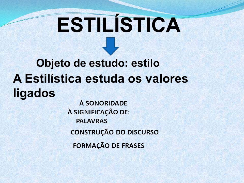 ESTILÍSTICA A Estilística estuda os valores ligados