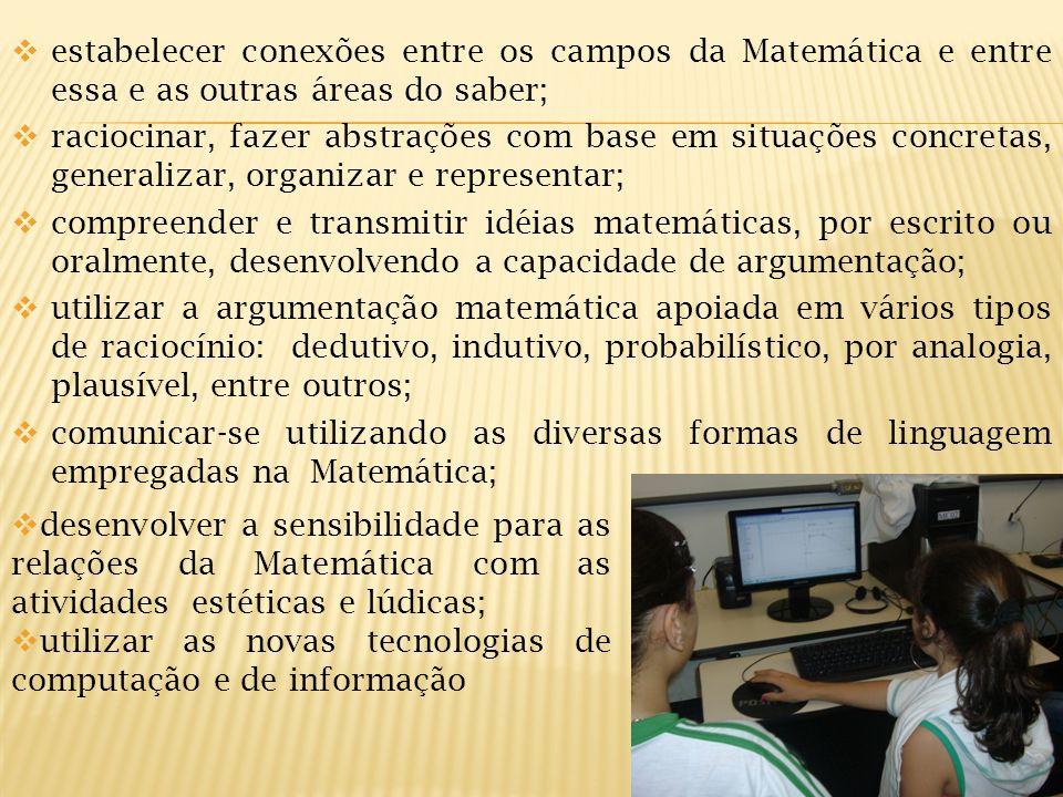 estabelecer conexões entre os campos da Matemática e entre essa e as outras áreas do saber;