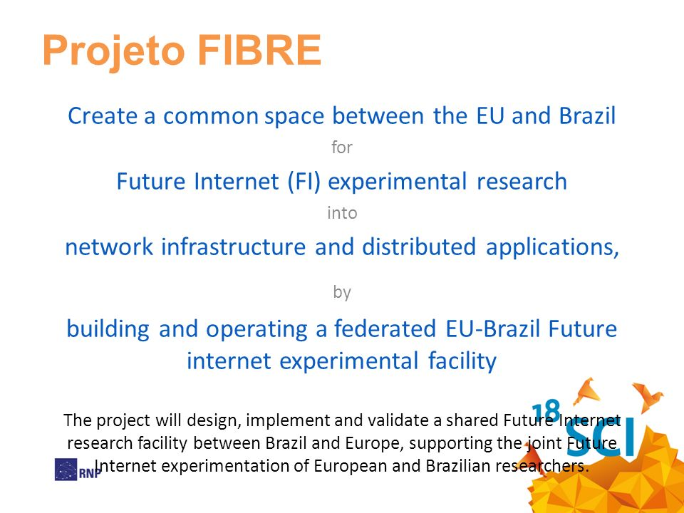 Projeto FIBRE Create a common space between the EU and Brazil