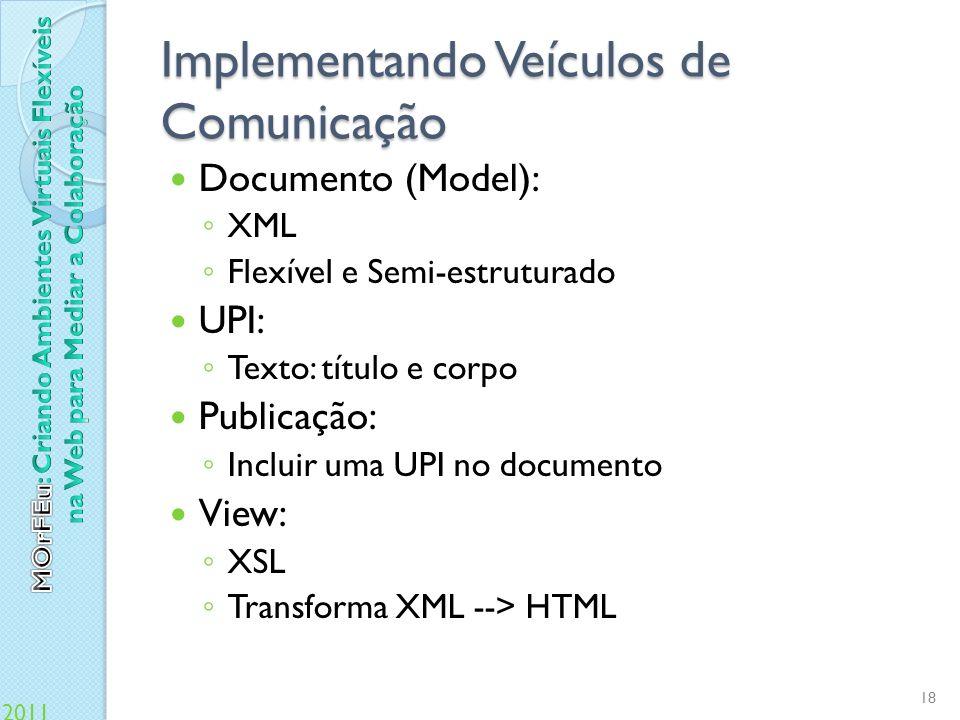 Implementando Veículos de Comunicação