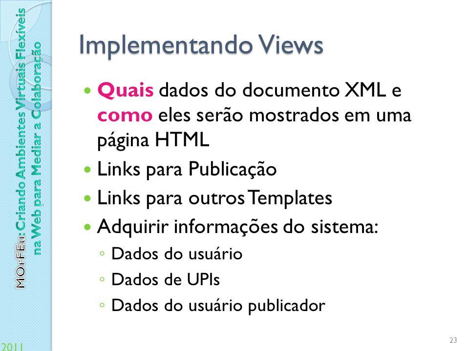 Implementando Views Quais dados do documento XML e como eles serão mostrados em uma página HTML. Links para Publicação.