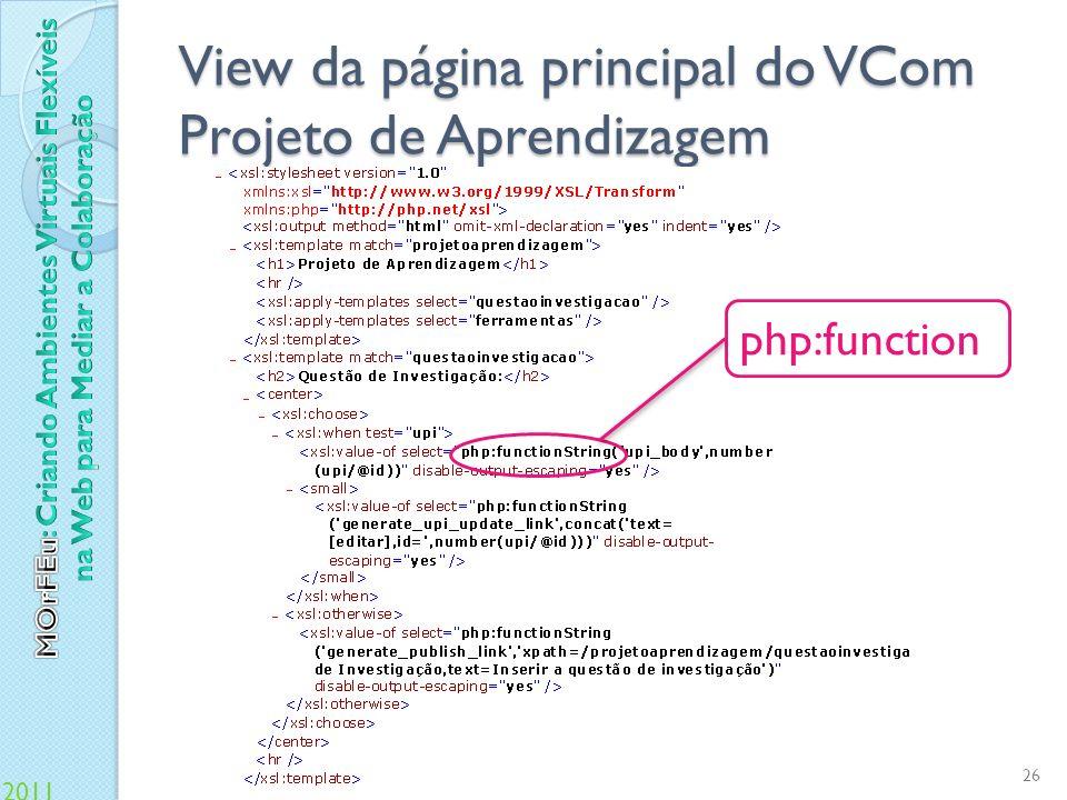 View da página principal do VCom Projeto de Aprendizagem