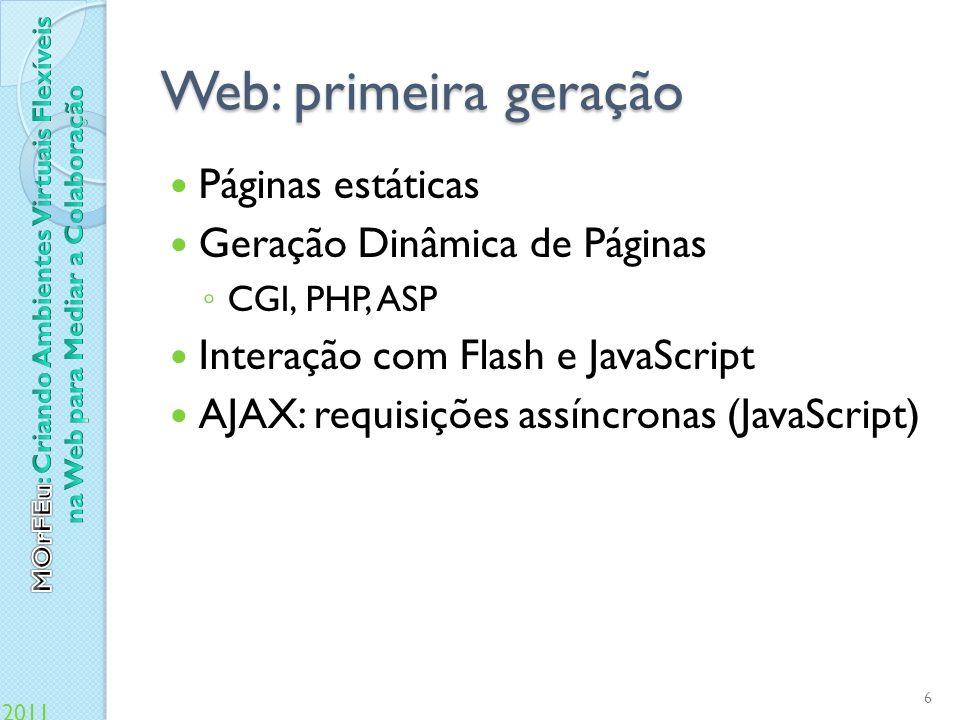 Web: primeira geração Páginas estáticas Geração Dinâmica de Páginas