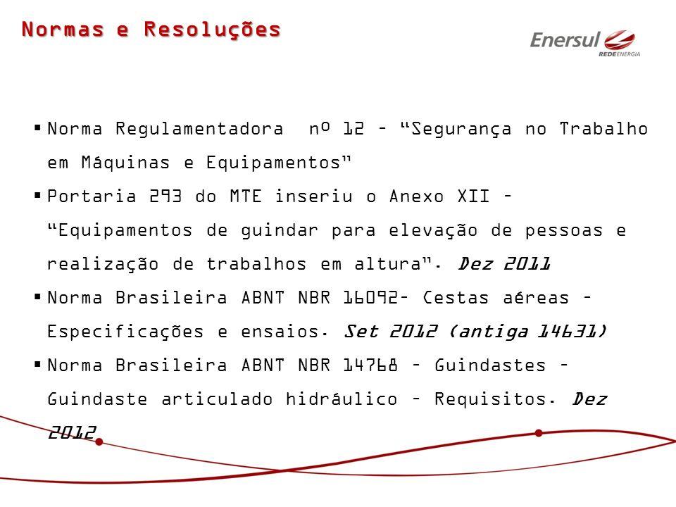 Normas e Resoluções Norma Regulamentadora nº 12 – Segurança no Trabalho em Máquinas e Equipamentos