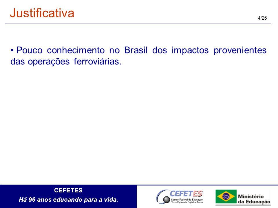 Justificativa Pouco conhecimento no Brasil dos impactos provenientes das operações ferroviárias.