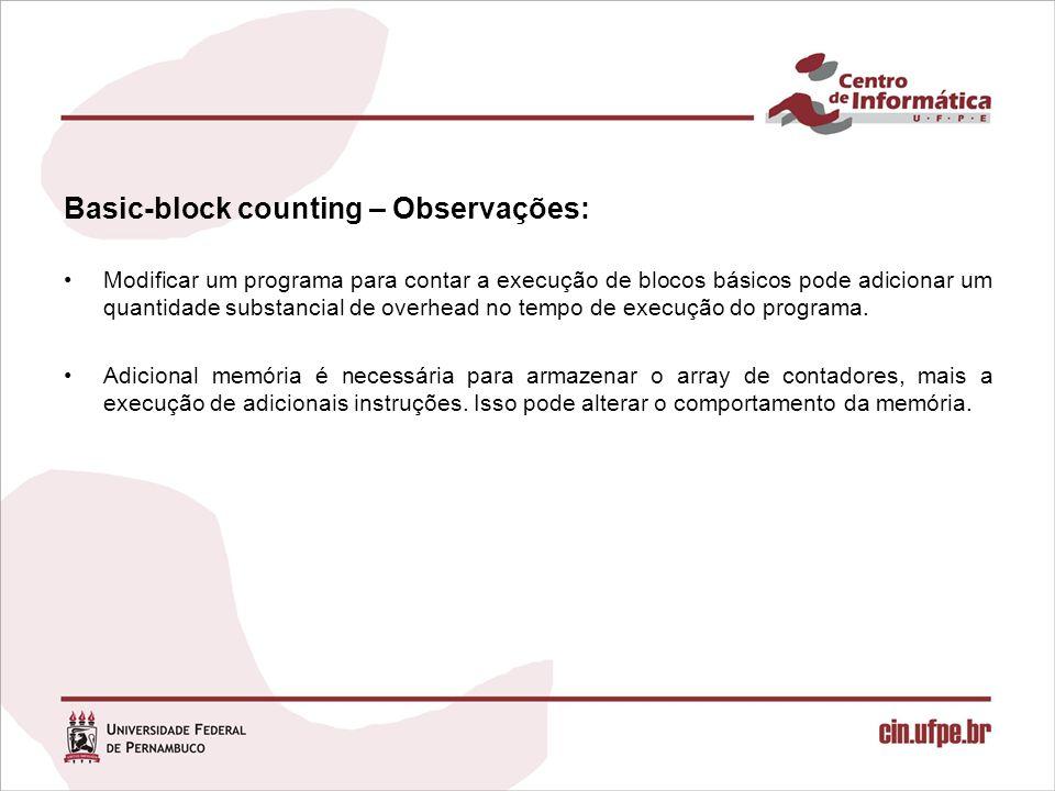 Basic-block counting – Observações:
