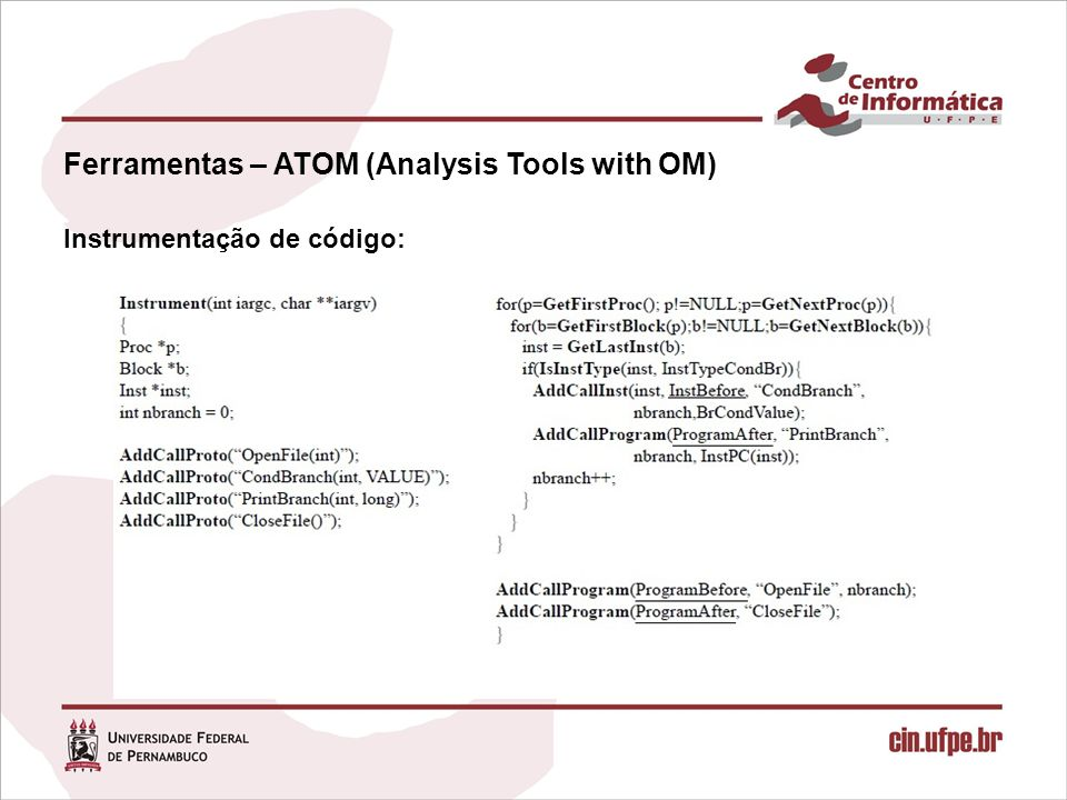 Ferramentas – ATOM (Analysis Tools with OM)