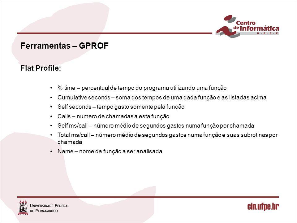 Ferramentas – GPROF Flat Profile: