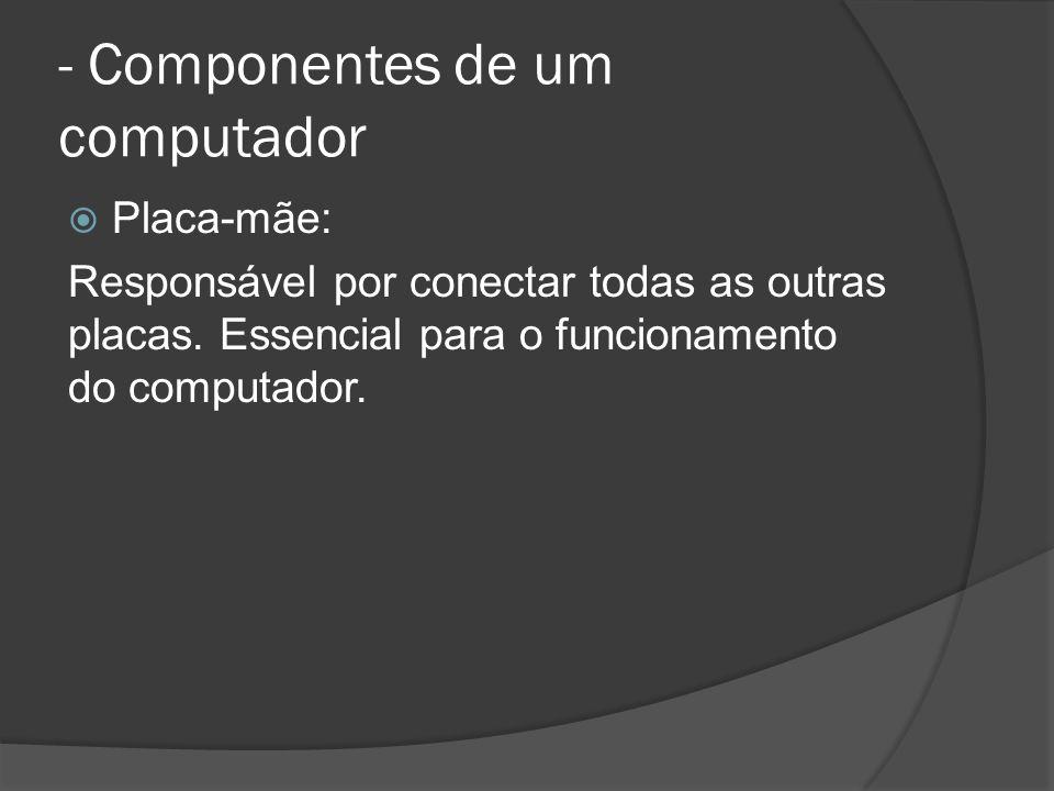 - Componentes de um computador